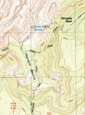 Graphic of topo map for Hermit Trail