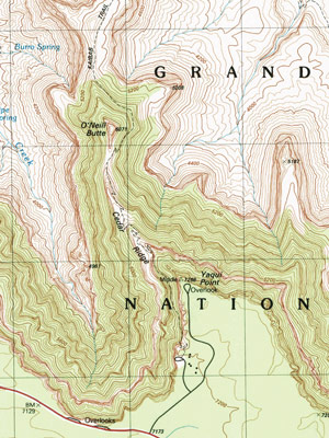 Small topo map graphic for South Kaibab Trail