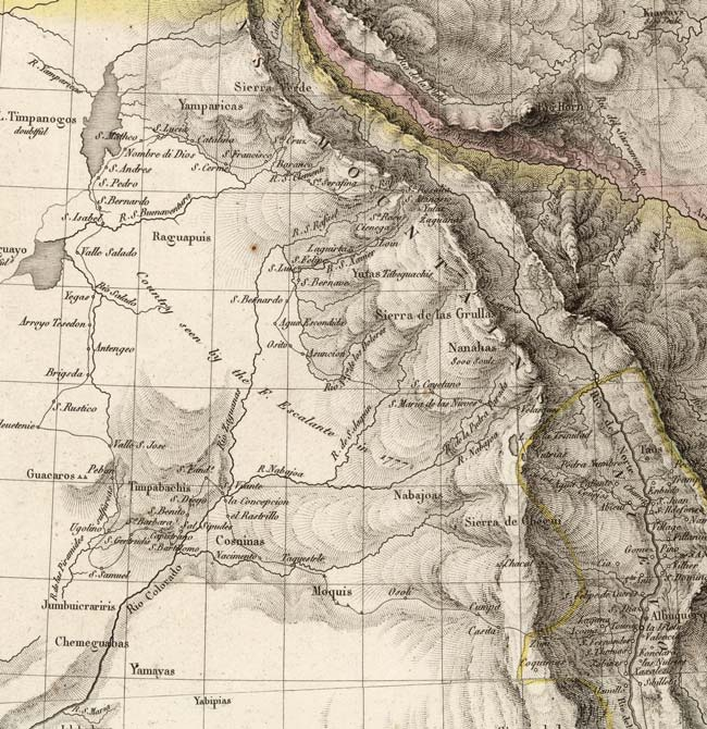 Detail of 1820 Pierre Tardieu map showing influence of Miera and Escalante