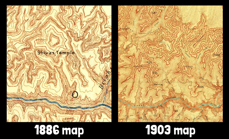 Comparison of 1886 and 1903 Grand Canyon maps