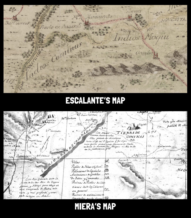 Comparison of two maps from the Escalante expedition, one by Escalante and one by cartographer Don Bernardo Miera y Pacheco