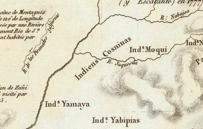 Detail from Humboldt map showing the Grand Canyon region.