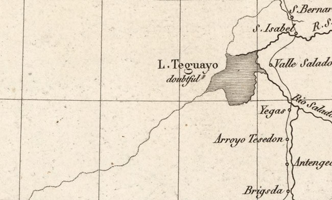"A map whose left-hand side shows only a single conjectured river as indicated by a faint, dotted line, and that also shows a lake with the disclaimer ""doubtful"""