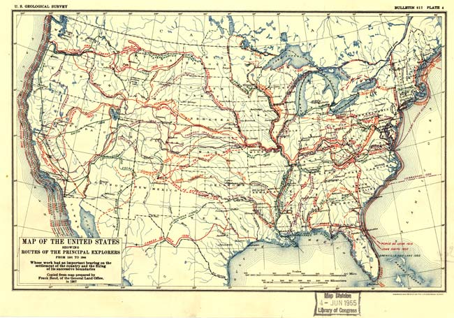 Map of the United States Showing Routes of Principal Explorers from 1501 to 1884.