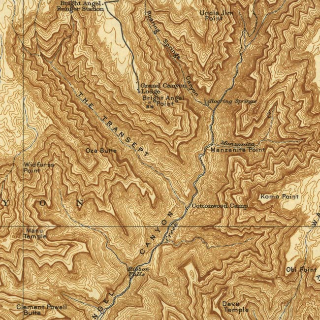 Detail of a Matthes map reprint showing midcentury human use
