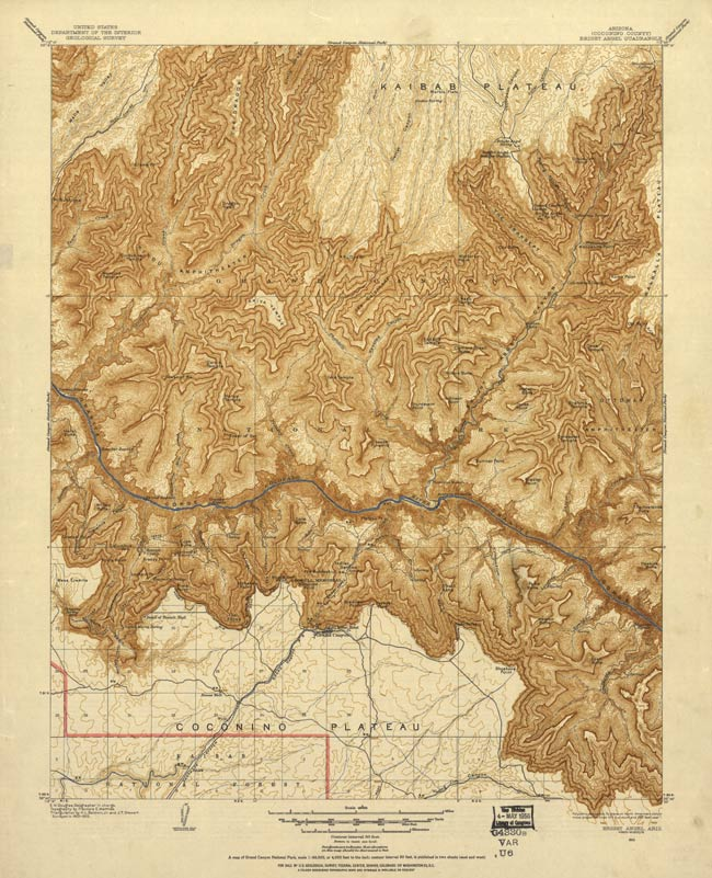 Image of historic Bright Angle quadrangle map based on 1903 survey.