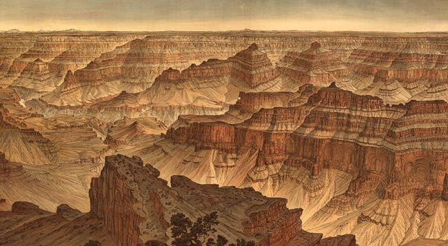 Detail from Grand Canyon panorama by Clarence Dutton