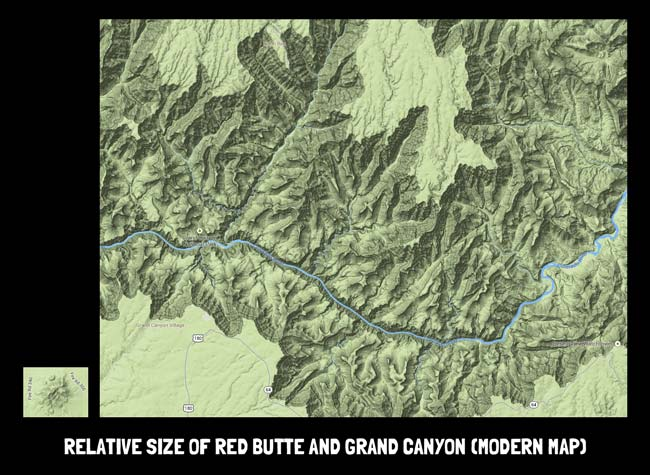 Illustration showing the relative sizes of Red Butte and Grand Canyon as they appear on a modern map