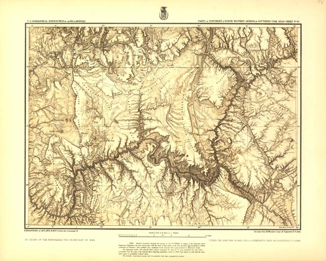 Parts of Northern and North Western Arizona and Southern Utah — map based on survey headed by George Wheeler